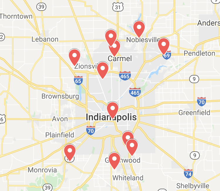 Axia Women's Health locations on Indianapolis area map