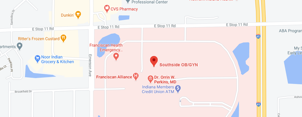 Southside OB/GYN Indianapolis Map