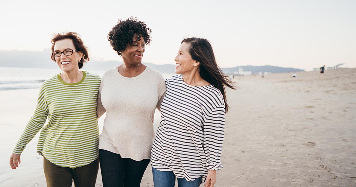 three women walking on a beach - pelvic floor physical therapy - Axia Women's Health
